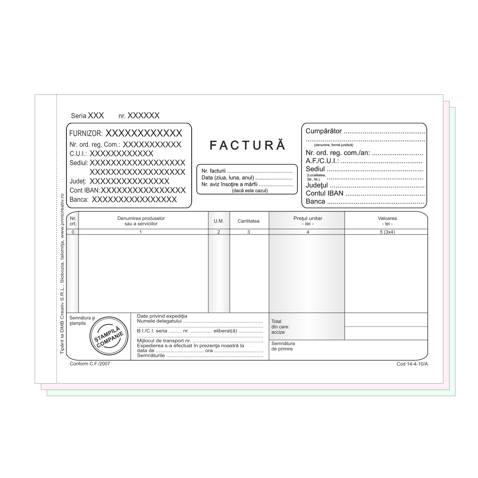 Facturi fara TVA A5 personalizate